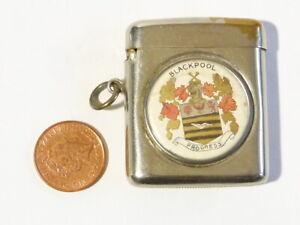 Antique Blackpool Progress Coat of Arms Vesta Case Match Safe PWC Fob #V27