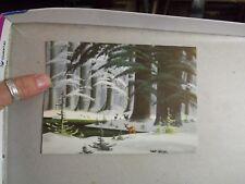 Vintage Mid Century Christmas Greeting Card Art Riley Disney Artist Winter Deer