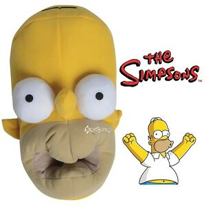 Mens Homer Simpson 3D Novelty Head Shaped Novelty Slippers Shoe Sizes 7-12