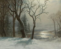Art Giclee Print Winter Landscape Oil painting Printed on Canvas 16x20 inch P005