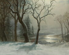 Art Hd Print Winter Landscape Oil painting Printed on Canvas 16x20 inch P005