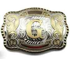 """Initial """"G"""" Letter Large Gold & Silver Rodeo Western Cowboy Metal Belt Buckle"""