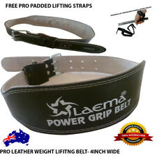 """PRO POWER LEATHER WEIGHT LIFTING TRAINING BELT BODYBUILDING STRAPS SUPPORT 4"""""""