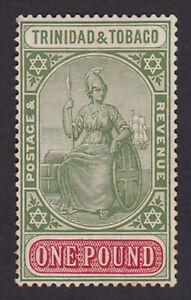 Trinidad & Tobago. SG 215, £1 green & carmine. Fine mounted mint.