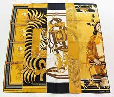 AUTH HERMES 2005 NIBWT Rare 90cm Silk Scarf CARRE EN CARRES Black Golds White