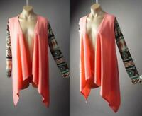 Pink Coral Open Tie Front Spring Summer Long Duster Jacket 297 mv Cardigan M L