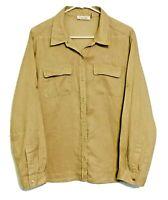 Calvin Klein Women's Linen Button Up Long Sleeve Shirt Size XL Tan / Light Brown