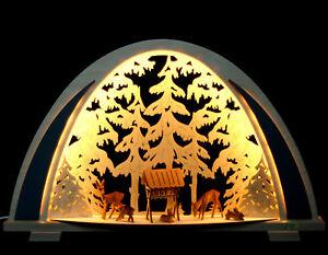 LED 3D Schwibbogen modern Rehe geschnitzt Wildfütterung Erzgebirge Fachhändler