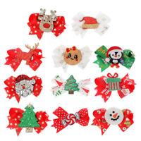 Fj- Am _1Pcs Rosso Bambino Natale Stile Forcina Fiocco Capelli Clip Decorazione