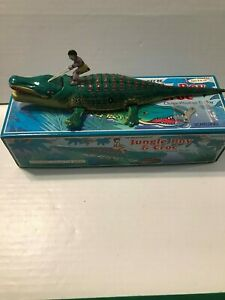 Schylling The Adventures of Jungle Boy & Croc Classic Wind-up Tin Toy Works