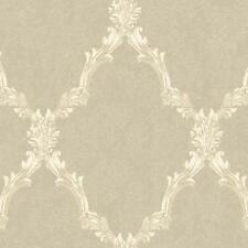 Wallpaper Traditional Acanthus Leaf Lattice Oyster Pearl, Off White, Sand Beige