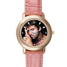 George Michael Genuine Pink Leather Wrist Watch Gold Colour Steel Casing Gift