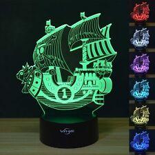 Pirate Ship 3D Optical Illusion LED Lamp Boat Shapes Children Bedroom NightLight