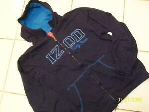 IZOD -  BOYS LGE 14-16 -BLUE FLEECE LINED FRONT ZIP HOODIE-ATTACHED LINED HOOD