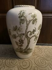 Vintage Original Ulmer Keramik Vase Hand Painted Green Tree Swing Germany