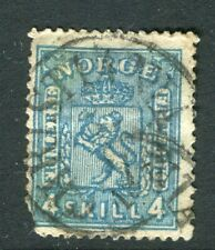 NORWAY; 1867 early classic Skilling issue used 4sk. value, fine Postmark