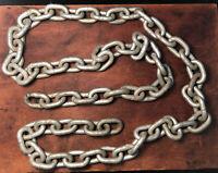 "Vintage Heavy Link Chain Industrial 73"" 65 Links 1.75"" Links 6 lbs"