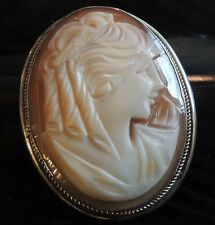 STUNNING VINTAGE HAND CARVED ESTATE STERLING SILVER CAMEO PENDANT BROOCH