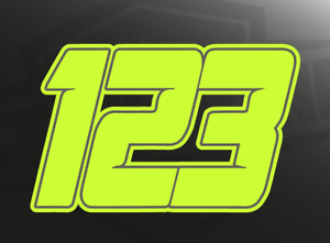 3 X Custom Race Numbers Vinyl Stickers/Decals - Fluorescent Day-Glo Neon Yellow