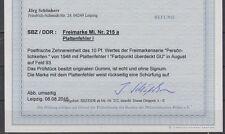 SBZ - Köpfe 1 Nr. 215 a I - Befund Schönherr RRR!!!