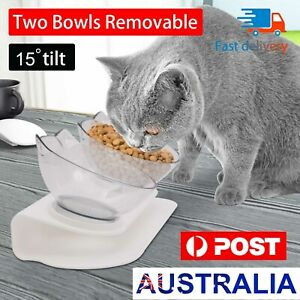 Double Elevated Pet Bowl Cat Dog Feeder Food Water Raised Lifted Stand Bowls AU