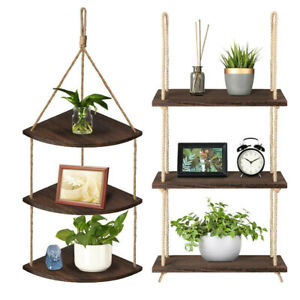 3 Tier Vintage Shabby Chic Solid Wood Rope Hanging Wall Shelf Home Storage Decor