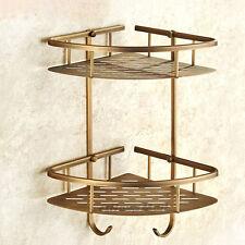 Retro Brass 2 Tier Bath Wall Storage Basket Corner Shelf Bathroom Hook Rack Soli