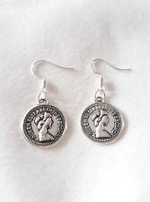 """Handmade pennies pair of earrings (""""antique silver"""")"""