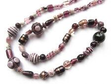 Lange Halskette in violett/lila Glasperlen Lampwork beads Kette violet necklace