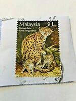 Stamp, Malaysia, 30 Sen, 2002, Kucing Batu, Felis bengalensis, Used Collectors