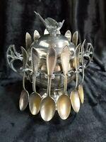 Wm A Rogers WR 57 Keystone Sugar Bowl with 12 Spoons Bird Lid Silver plated