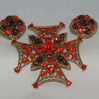 Vintage WEISS Brooch Earring Demi Orange Rhinestone Signed Estate Jewelry