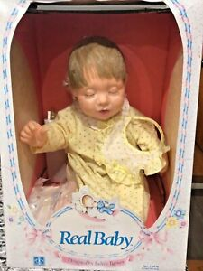 1985 Sleeping Real Baby Doll Designed By Judith Turner in Box w/ Papers & Bottle