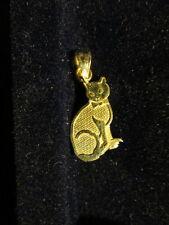 14K Gold I Love My Cat Pendant Charm .7 Grams Heart