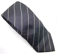 """French Connection Men's Tie Black Grey Striped 100% Silk 2.75"""" Width 61"""" Length"""