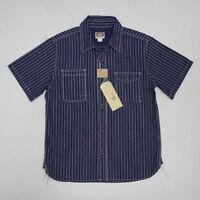Bob Dong 30s Wabash Striped Work Shirt Summer Mens Short Sleeve Casual Tee Shirt