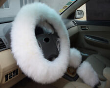 Long Furry Steering Wheel Cover Shifter Cover and Parking Brake Cover white