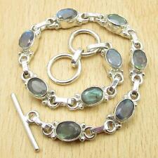 "925 Silver Plated LABRADORITE CUTE Bracelet 7 7/8"" DAD GIFT ONLINE STORE"