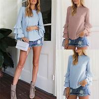 Summer Women Ruffles Long Sleeve Chiffon Shirt Solid Casual Loose Top Blouses 3C
