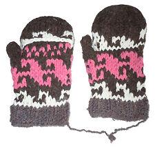 Winter GLITTEN - Pink Handmade Natural Pakistani Wool - Texting Glove Mitten A11