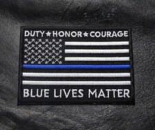 POLICE BLUE LINE DUTY HONOR COURAGE USA FLAG BLUE LIVES MATTER IRON ON PATCH