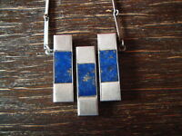 Traumhaftes Vintage Designer Collier Kette 925er Silber Lapislazuli Modernist