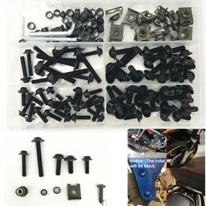 177Pcs Motorcycle Faring Body Work Bolt Kit Fender Screw Clip M6 M5 Universal