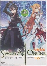 DVD Sword Art Online Vol. 1 - 25 End Complete TV + FREE 1 anime DVD + Tracking