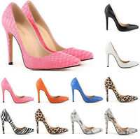 Women 11cm Stiletto High Heels Office Work OL Pointed Toe Pumps Shoes Plus Size