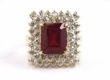 Taglio a Smeraldo Rubino & Diamante Aureola Mix Anello 14k Oro Giallo 7.18Ct