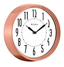 "Bulova Cleaver 8.5"" Analog Quartz Brushed Copper Metallic Wall Clock C4828"