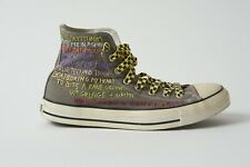 CUSTOMISED HIGH TOP CONVERSE ALL STAR TRAINERS  HAND EMBROIDERED  MUSIC LYRICS