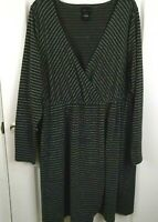Torrid Womens Gray Metallic Silver Faux Wrap 3/4 Sleeve Knit Dress Size 3