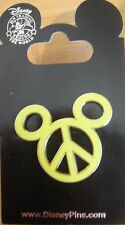 Disney Peace Sign Mickey Head ( Yellow/ Neon Green) Pin- New on Card - # 66621